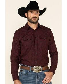 Cody James Men's Walnut Grove Floral Geo Print Long Sleeve Western Shirt , Burgundy, hi-res