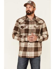 Moonshine Spirit Men's Hound Dog Large Plaid Long Sleeve Snap Western Flannel Shirt , Brown, hi-res