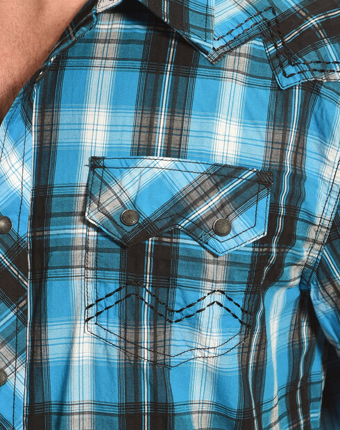 Moonshine Spirit Men's Plaid Long Sleeve Shirt, Turquoise, hi-res