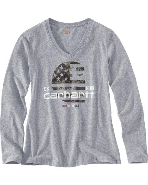 Carhartt Women's Grey Lubbock Graphic Filled Flag T-Shirt , Heather Grey, hi-res