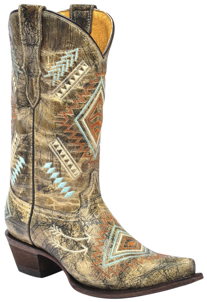 Corral Girls' Multicolored Diamond Embroidered Cowgirl Boots - Snip Toe, Multi, hi-res
