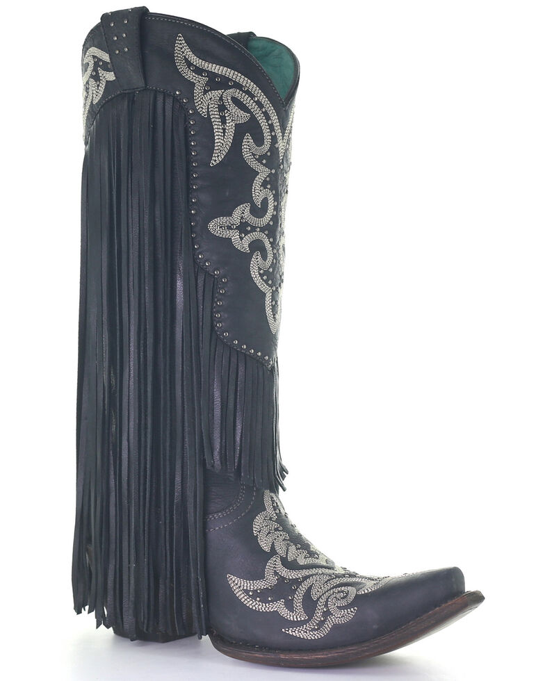 Corral Women's Embroidery & Studs Fringe Top Western Boots - Snip Toe, Black, hi-res
