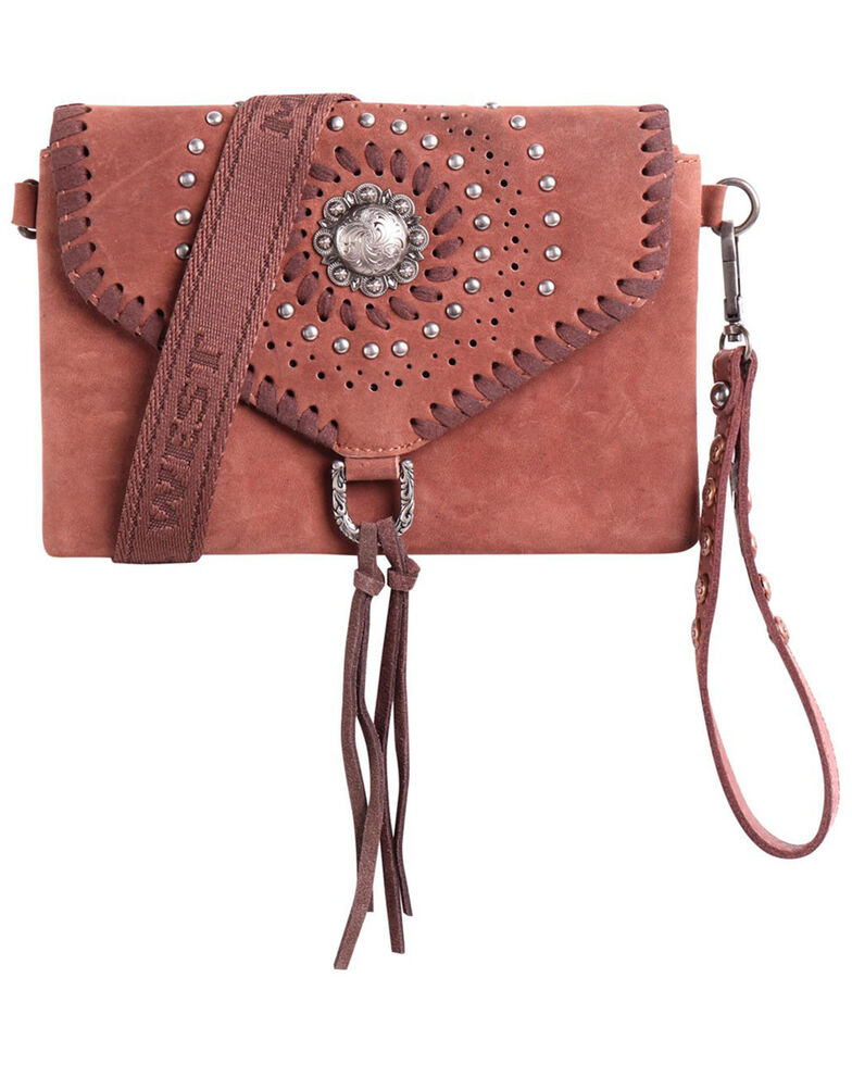 Montana West Women's Concho Collection Crossbody Bag, Tan, hi-res