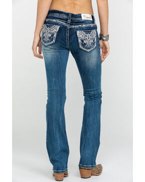 Grace in LA Women's Medium Color Novelty Bling Boot Jeans, Blue, hi-res