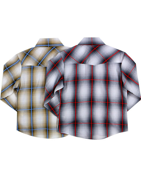 Ely Cattleman Boys' Assorted Western Plaid Long Sleeve Shirts , Multi, hi-res