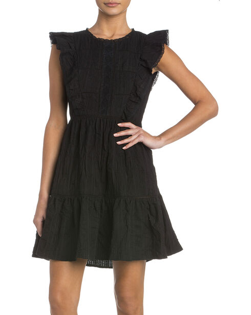 Miss Me Black Tiered Dress with Ruffle Details, Black, hi-res