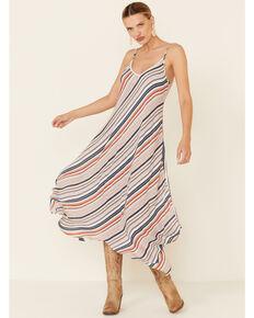 Luna Chix Women's Navy Stripe Hanky Hem Dress, Rust Copper, hi-res