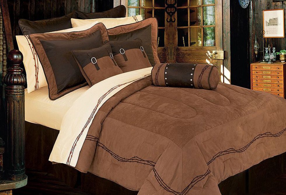 HiEnd Accents Barbed Wire Embroidery Bed In A Bag Set - Queen Size, Dark Brown, hi-res
