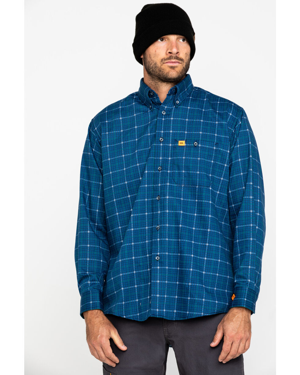 Wrangler Men's Blue 20X Flame Resistant Plaid Shirt , Blue, hi-res