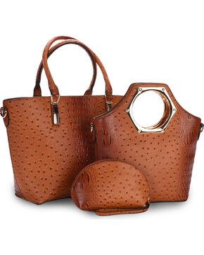 Wear N.E. Wear Women's Ostrich Print 3 Piece Bag Set, Brown, hi-res