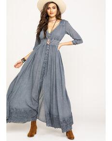 Shyanne Women's Charcoal Button Down Maxi Dress, Charcoal, hi-res