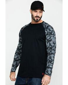 Ariat Men's Grey Camo FR Baseball Long Sleeve Work Shirt - Tall , Camouflage, hi-res