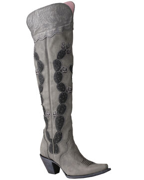Junk Gypsy by Lane Women's Hard To Handle Over The Knee Boots - Snip Toe, Grey, hi-res