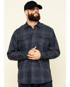 Ariat Men's Charcoal Rebar Flannel Durastretch Plaid Long Sleeve Work Shirt - Big , Charcoal, hi-res