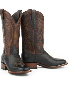 Stetson Men's Black Calf Sheridan Western Boots - Square Toe , Black, hi-res