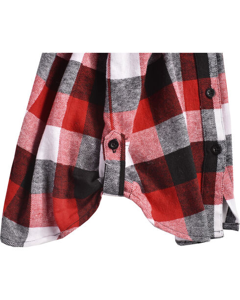 Derek Heart Girls' Red Tab Sleeves Plaid Flannel Shirt, Red, hi-res