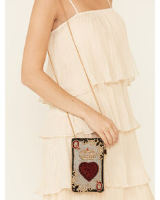Mary Frances Women's Queen Of Hearts Cell Phone Bag, Black, hi-res