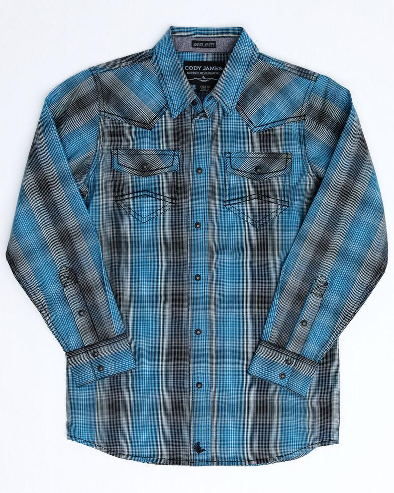 Cody James Boys' Morning Fog Plaid Long Sleeve Western Shirt , Blue, hi-res