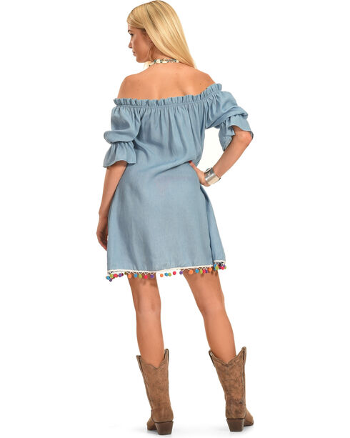 Polagram Women's Off-the-Shoulder Denim Mini Dress, Indigo, hi-res