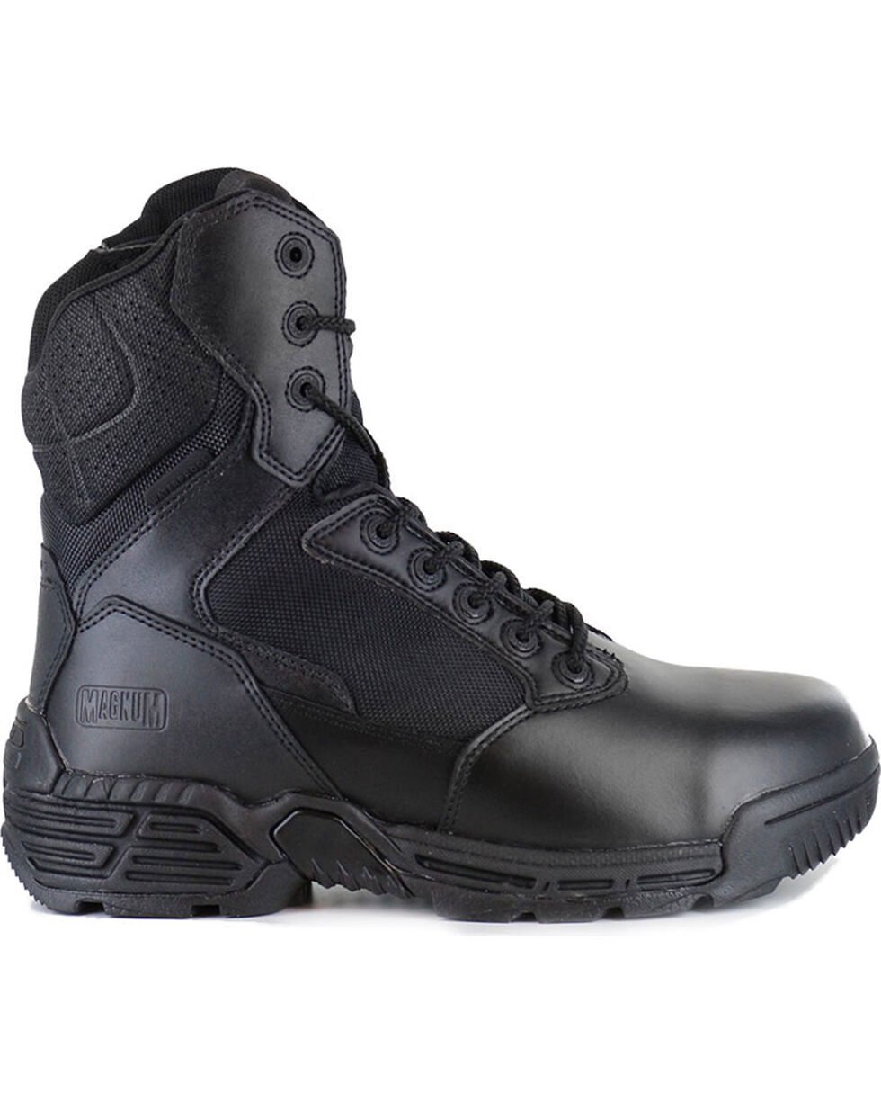 Magnum Men's Stealth Force Side Zip Waterproof Work Boots - Round Toe, Black, hi-res