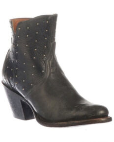 Lucchese Women's Harley Black Fashion Booties - Round Toe, Black, hi-res