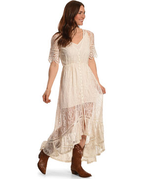 Shyanne Women's Allover Lace Button-Down Maxi Dress, White, hi-res