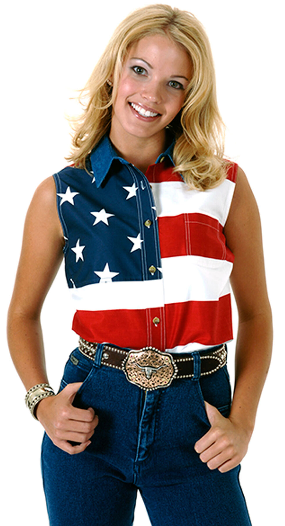 Roper Women's Sleeveless American Flag Shirt, Patriotic, hi-res