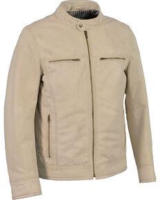 Milwaukee Leather Men's Zip Front Classic Moto Leather Jacket, Beige/khaki, hi-res