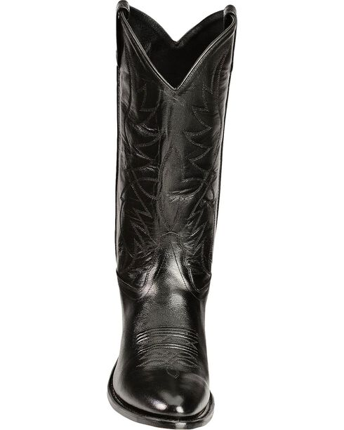 Old West Smooth Leather Cowboy Boots - Medium Toe, Black, hi-res