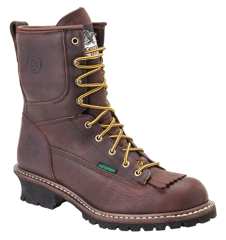 Georgia Waterproof Logger Boots - Round Toe, Chocolate, hi-res