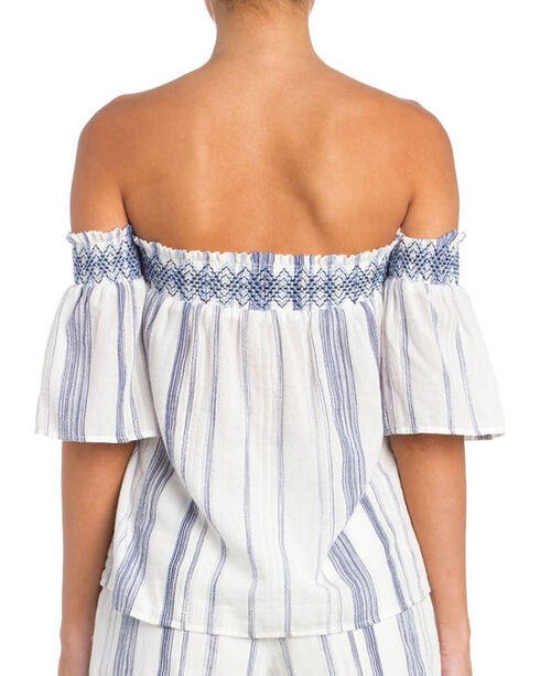Miss Me Women's Blue and White Stripe Off The Shoulder Top, White, hi-res