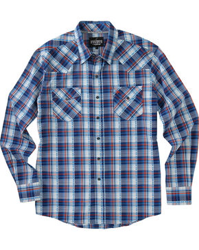 Garth Brooks Sevens by Cinch Men's Blue Hexagon Snaps Long Sleeve Plaid Shirt , Blue, hi-res