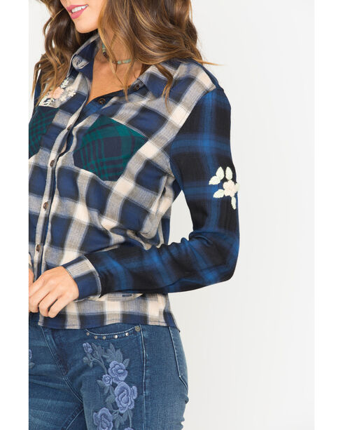 Miss Me Women's Embroidered Plaid Shirt , Blue, hi-res