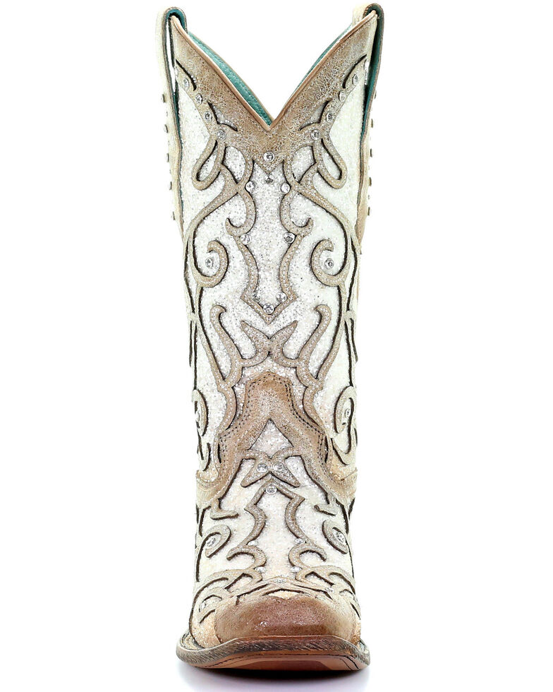Corral Women's White Glitter Inlay Western Boots - Square Toe, Ivory, hi-res