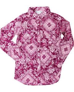 Shyanne Girls' Paisley Bandana Print Long Sleeve Shirt , Magenta, hi-res