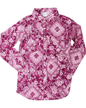 Shyanne Girls' Paisley Bandana Print Long Sleeve Shirt , Magenta, hi-res