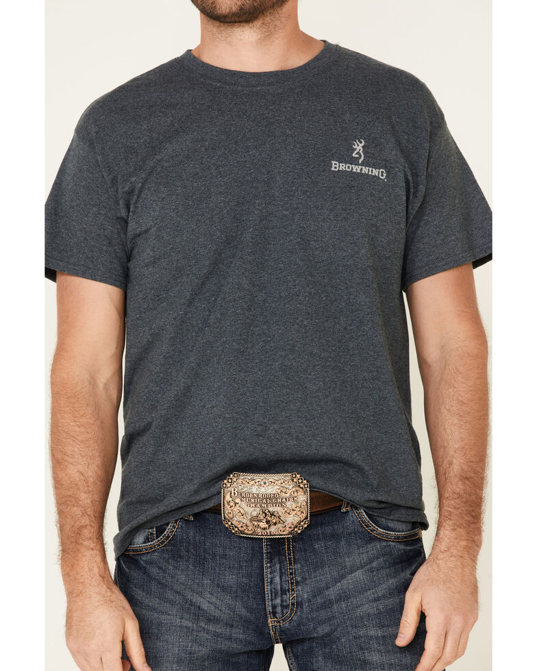 Browning Men's Charcoal Back Flag Graphic Short Sleeve T-Shirt , Brown, hi-res