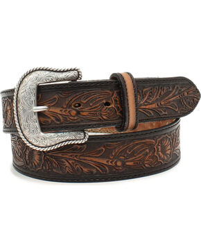 Nocona Men's Salinas Black Floral Embossed Leather Belt, Black, hi-res