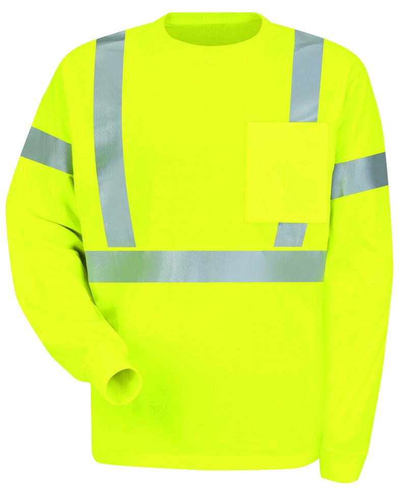Red Kap Men's Class 2 Hi-Viz Long Sleeve Safety T-Shirt, Multi, hi-res