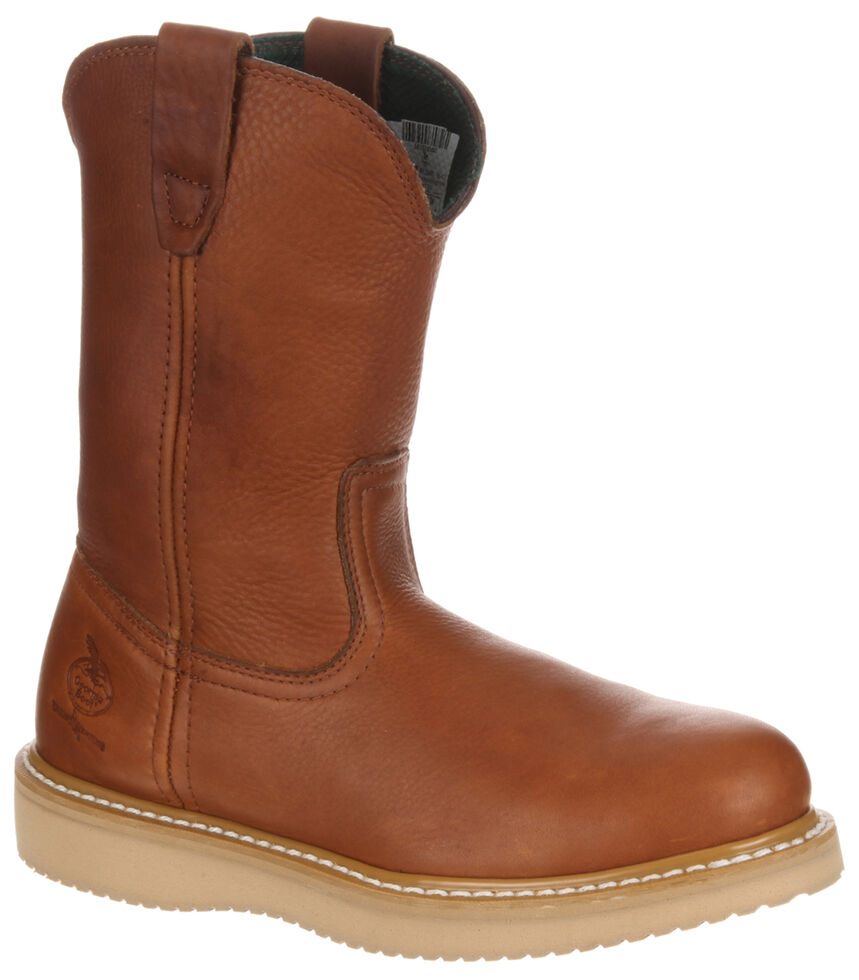 Georgia Boot Men's Wellington Barracuda Work Boots - Steel Toe, Brown, hi-res