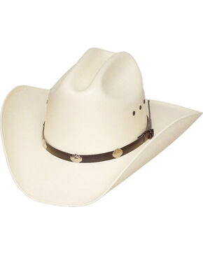 Western Express Kid's Great Plains Straw Silver Concho Cowboy Hat, White, hi-res
