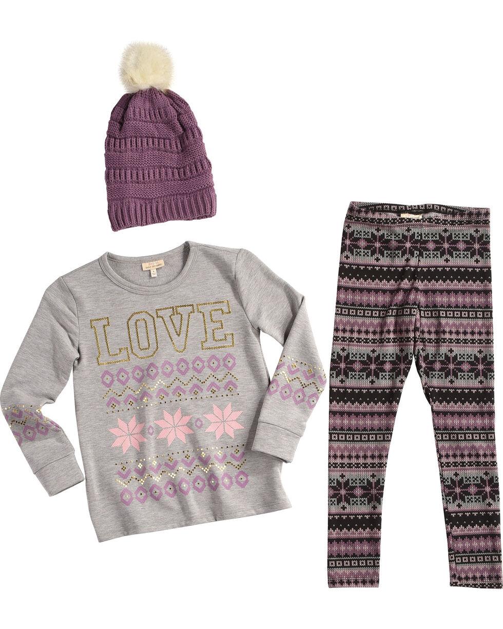Self Esteem Girls' Love Sweater Beanie Set, Purple, hi-res