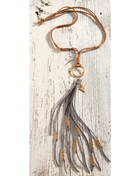 Gemelli Jewelry Women's Suede Southwest Tassel Necklace with Fringe, Tan, hi-res