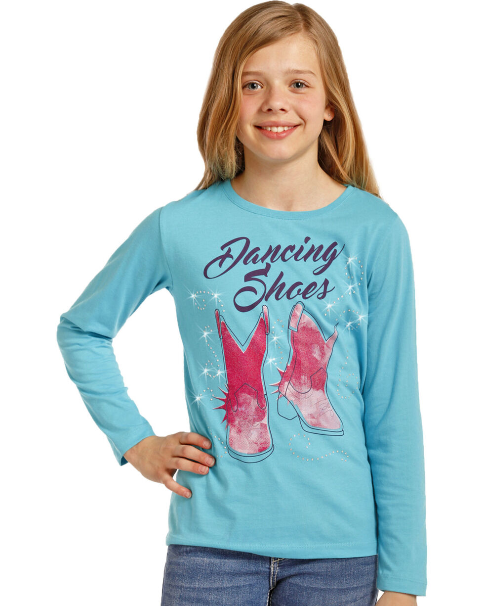 Rock & Roll Cowgirl Girls' Dancing Shoes Graphic Tee , Blue, hi-res