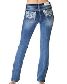 Grace in LA Women's Floral Pocket Bootcut Jeans, Blue, hi-res