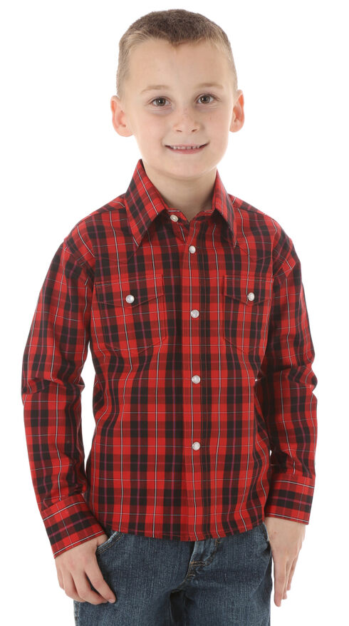 Wrangler Boys' Wrinkle Resist Black & Red Plaid Shirt, Red, hi-res