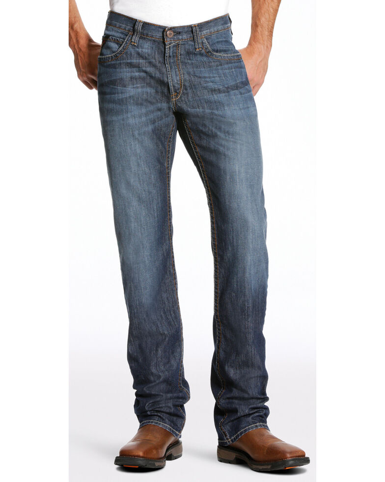 Ariat Men's FR M4 Inherent Basic Low Rise Bootcut Jeans - Big, Dark Blue, hi-res