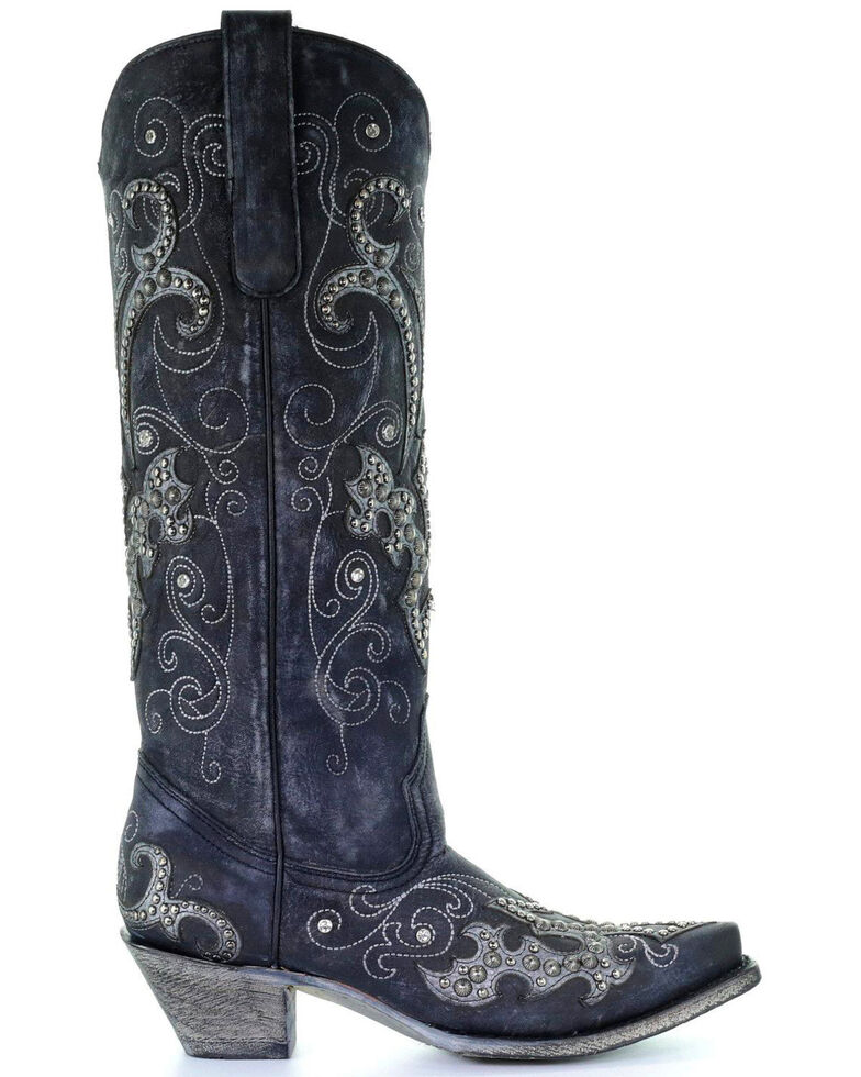 Corral Women's Tall Studded Overlay & Crystals Cowgirl Boots - Snip Toe, Black, hi-res