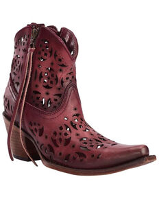 Corral Women's Cutout Boots - Snip Toe, Wine, hi-res