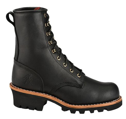 """Chippewa Women's 8"""" Oiled Insulated Logger Boots - Round Toe, Black, hi-res"""